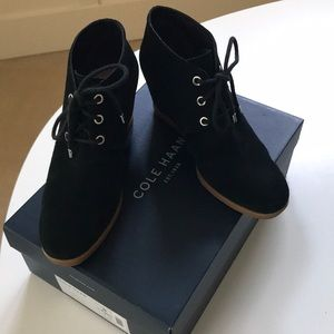 Cole Haan black suede booties in great condition